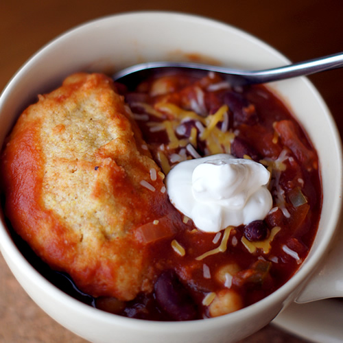 Vegetarian Chili with Cornbread Dumplings