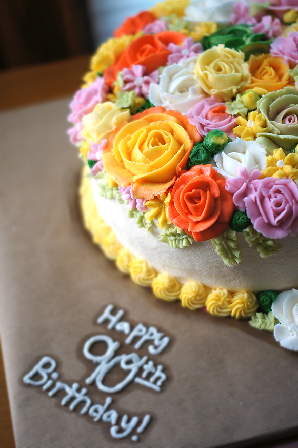 Floral 90th Birthday Cake Buttercream Roses