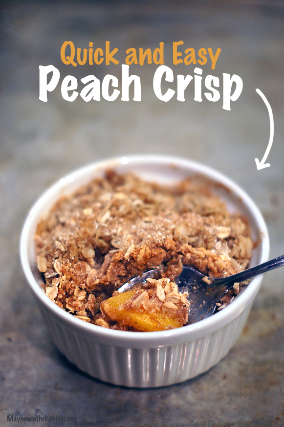 Quick and Easy Gluten Free Peach Crisp | Mayhem in the Kitchen!