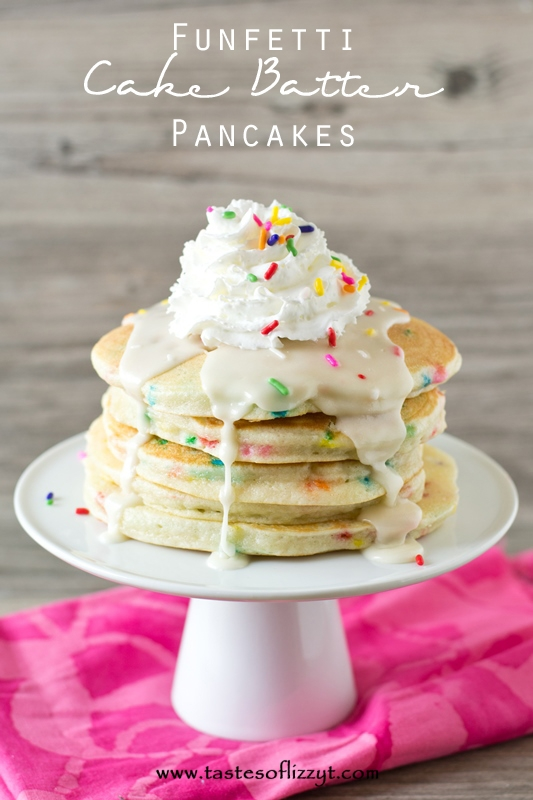 Funfetti Cake Batter Pancakes from Tastes of Lizzy T