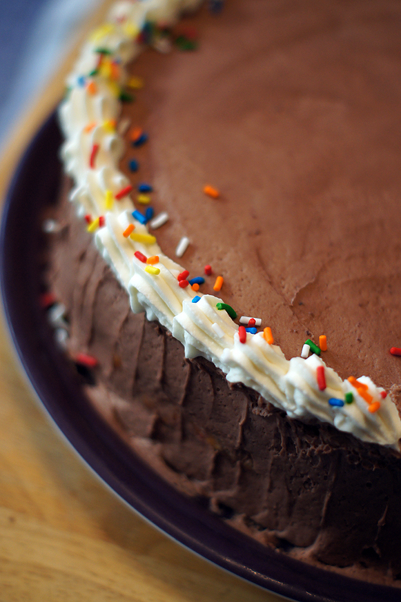Cheesecake filled Chocolate Birthday Cake
