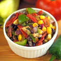 Salsa Fresca that is great as a salad, or a dip (cowbow caviar)! #mexican #tomatoes #zucchini #corn #blackbeans #jalapeno #onions