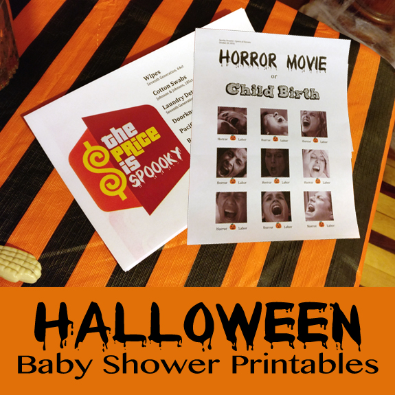 Free Halloween Baby Shower Printables - Horror Movie or Labor, The Price is Right