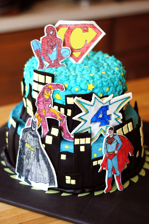 Awesome Superhero Birthday Cake Mayhem In The Kitchen Personalised Birthday Cards Rectzonderlifede