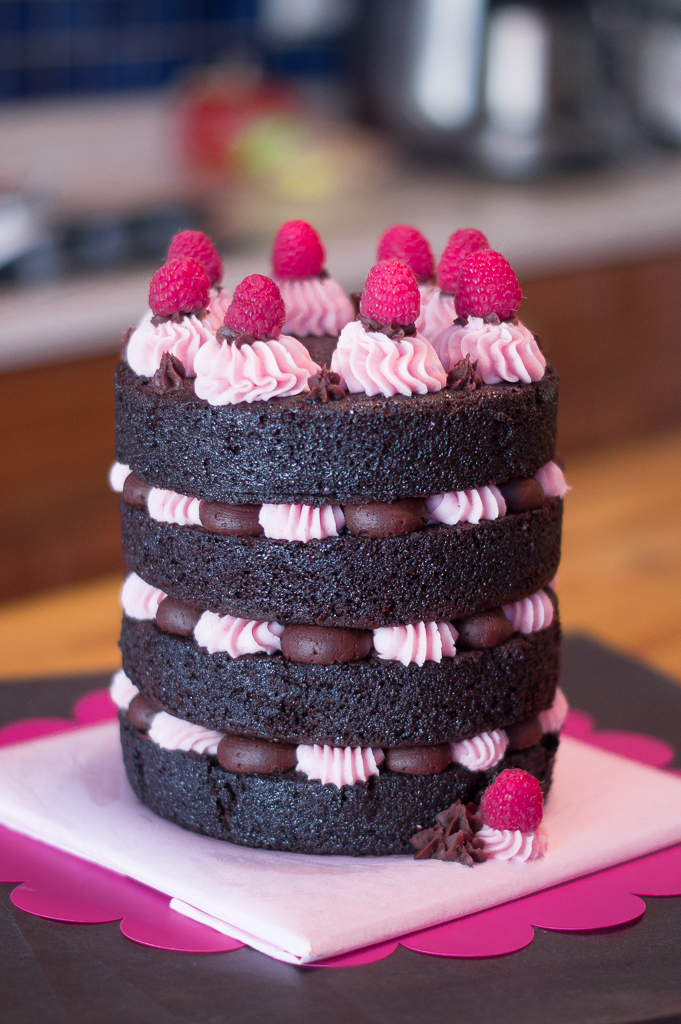 Remarkable Fancy Naked Truffle Cake With Raspberry Icing Mayhem In The Kitchen Funny Birthday Cards Online Aboleapandamsfinfo